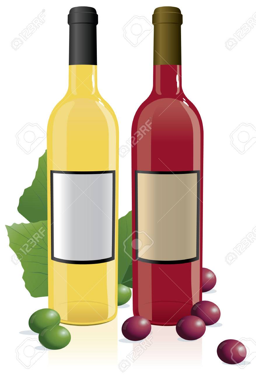 Red & White Wine Bottles with blank labels.