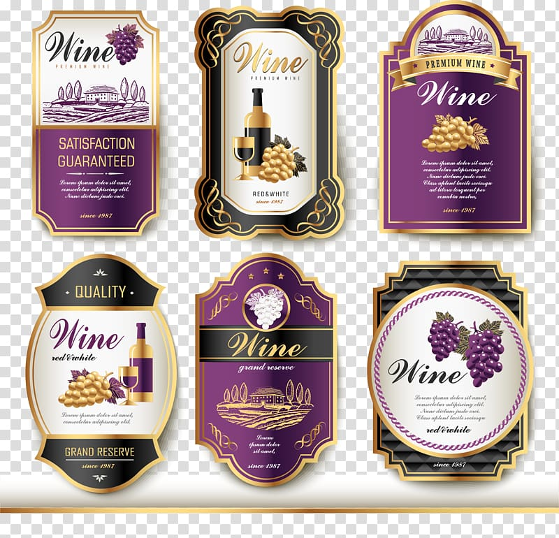 Six wine bottle labels, Wine label Vintage, Wine logo.