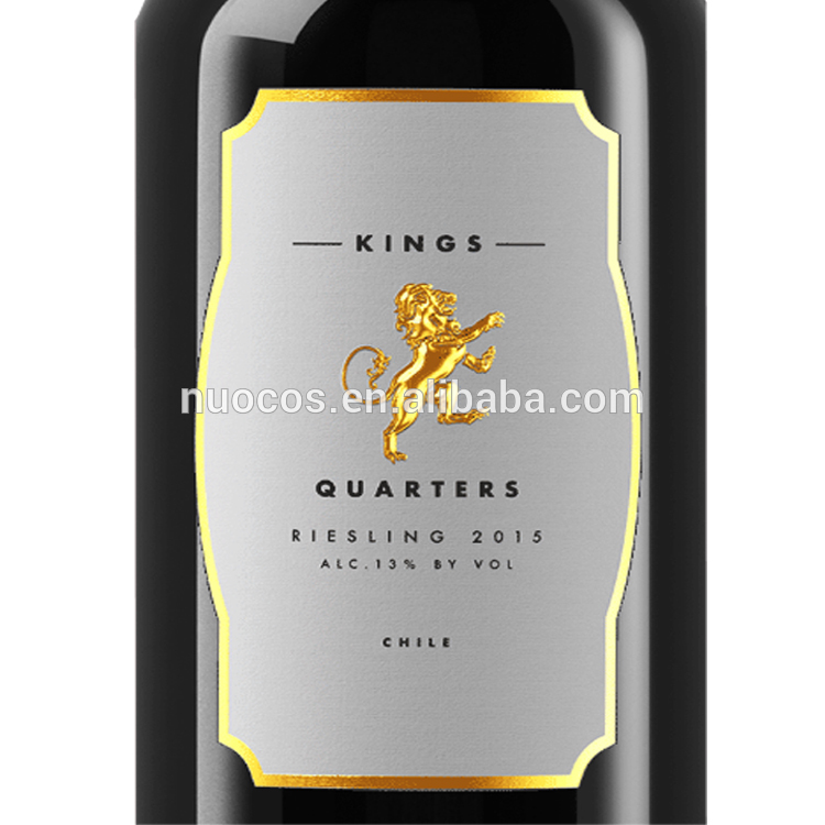 Custom Special Texture Paper Wine Labels Gold Foil Embossing Wine Bottle  Sticky Label.