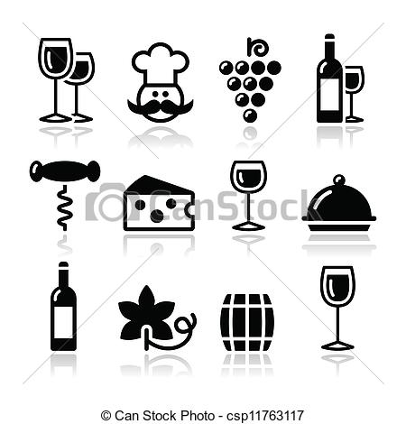 Vector Clip Art of Wine icons set.