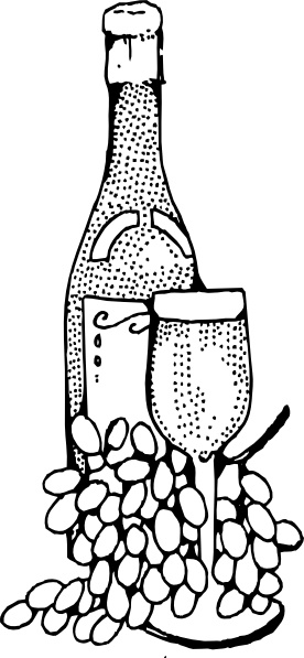 Wine Bottle And Glass clip art Free vector in Open office.