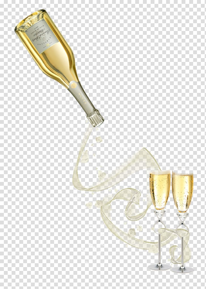 Prosecco Champagne Wine Beer Bottle, pouring transparent.