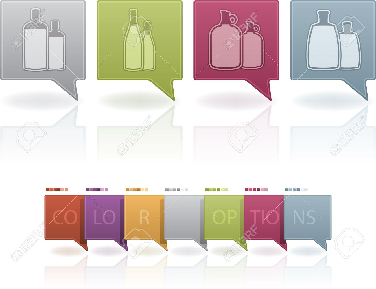 A Range Of Alcohol Glasses Icons From Left To Right: Bourbon.