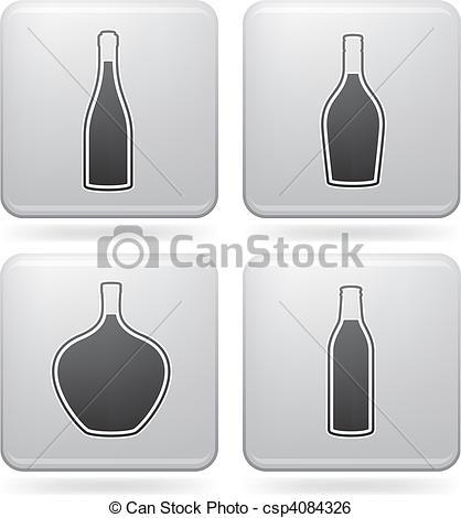 Clip Art Vector of Alcohol bottles.