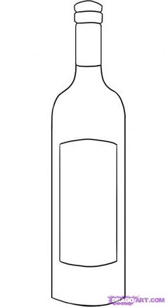 Wine bottle pattern. Use the printable outline for crafts.