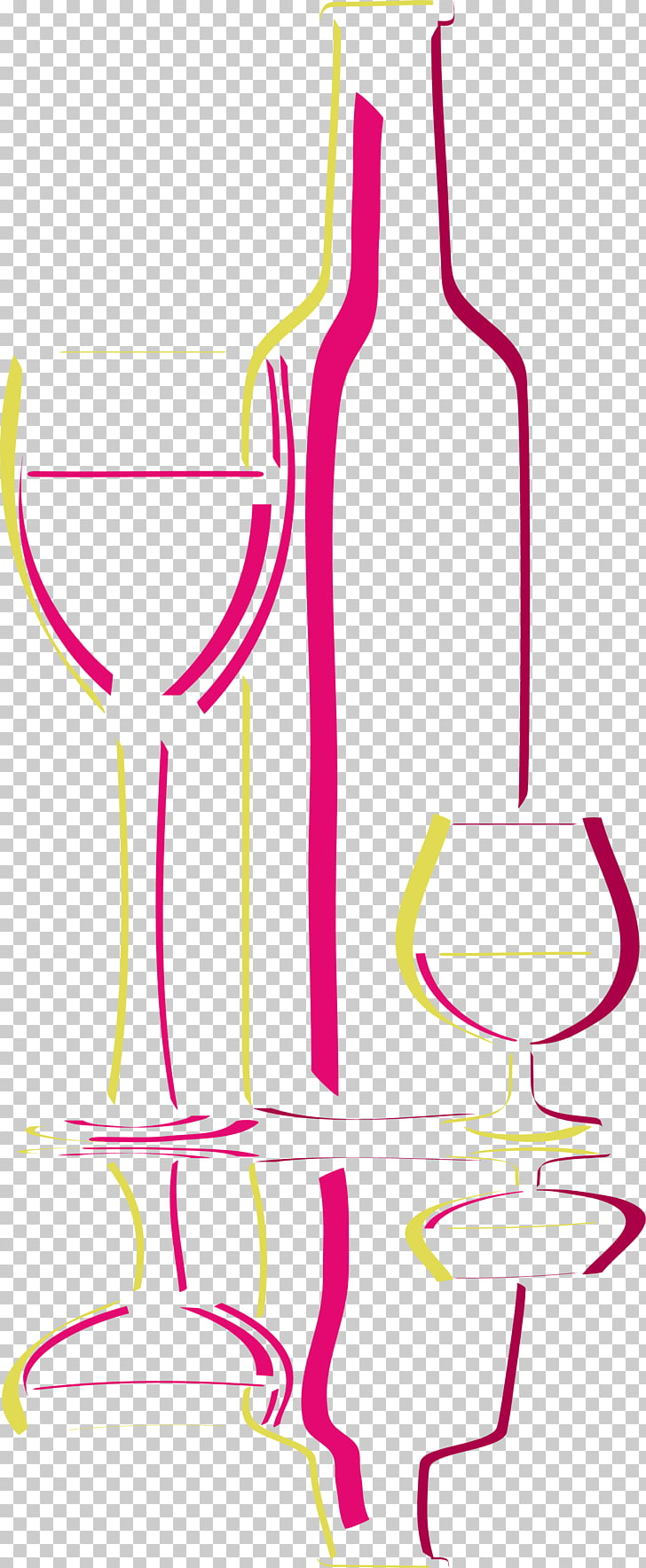 Wine glass Line Bottle, Simple bottle PNG clipart.