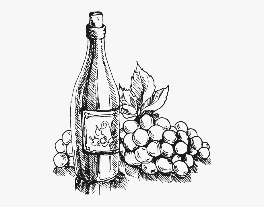 Black And White Clip Art Wine Bottles , Transparent Cartoon.