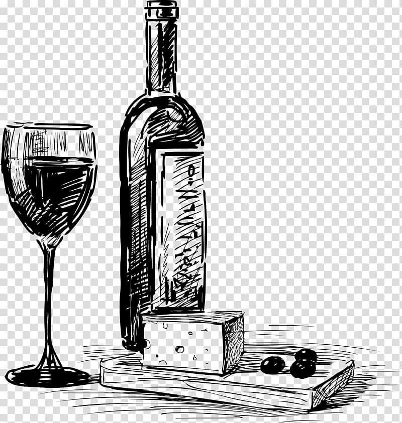 Wine Beer Common Grape Vine Happy hour Bottle, Hand drawn.