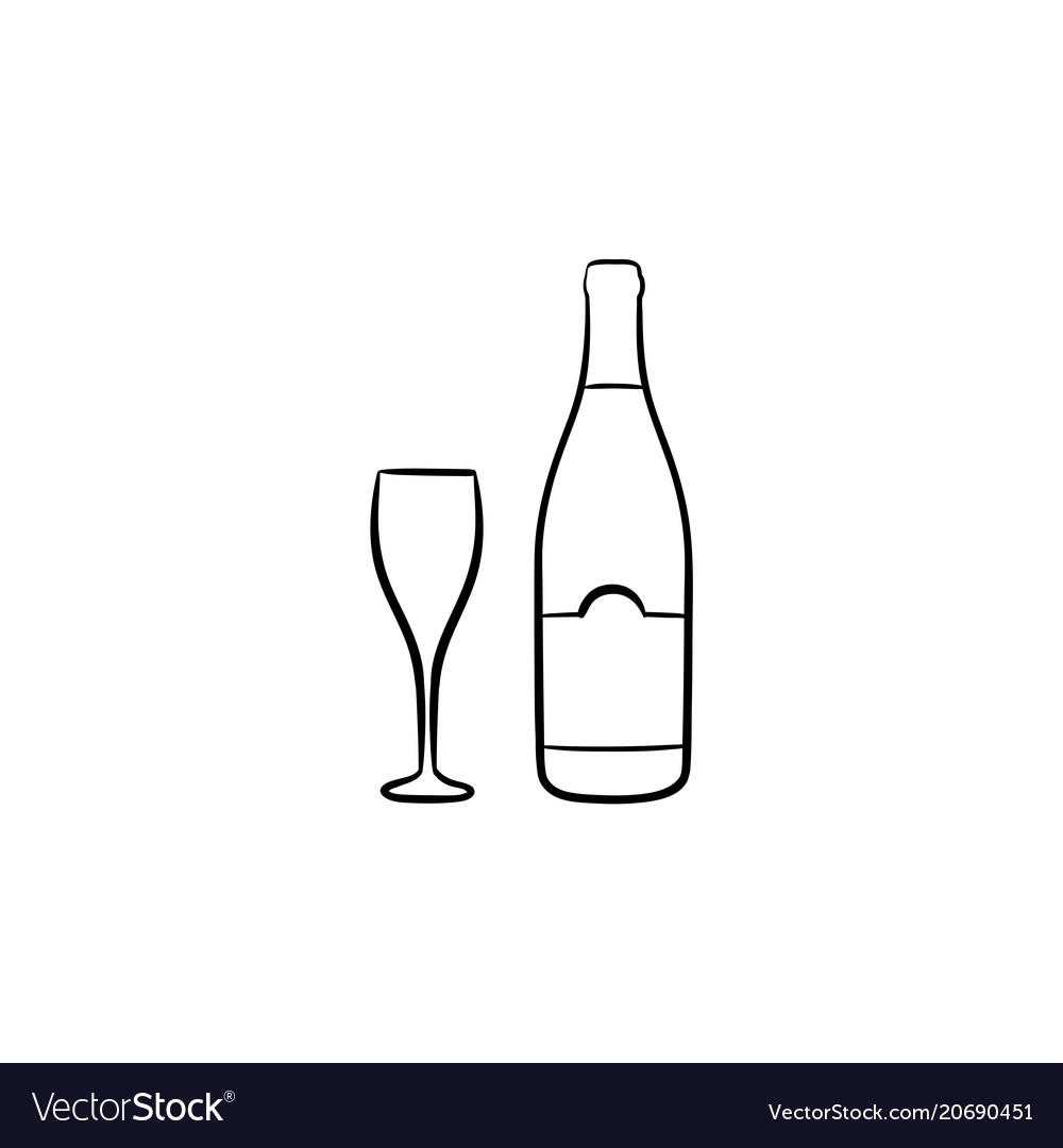 Wine bottle hand drawn sketch icon.