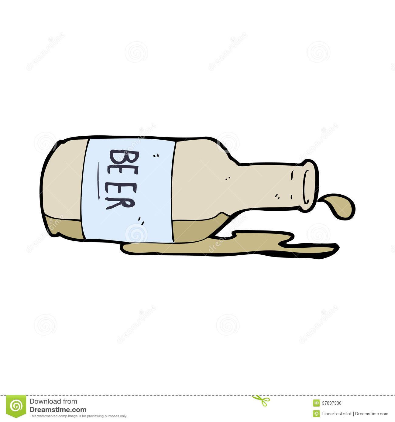 Spilled Beer Bottle Clipart.