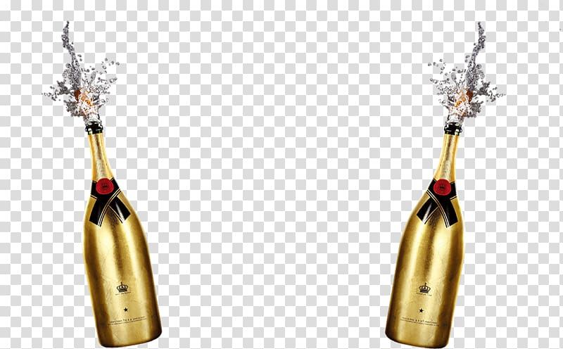 Two wine bottles illustration, Red Wine Champagne Beer.