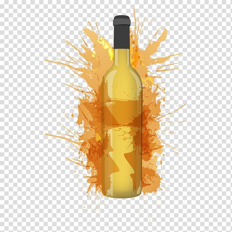 White wine Muscat Riesling Kerner, Beverage bottles.