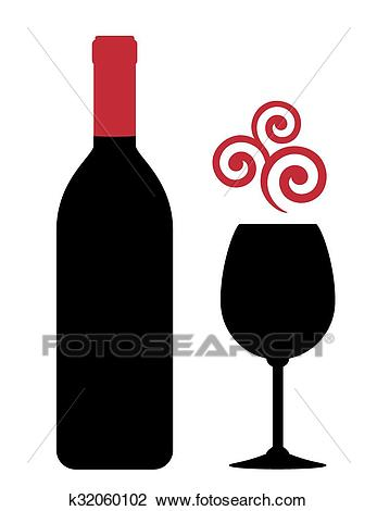 Red wine bottle, glass and design element Clipart.