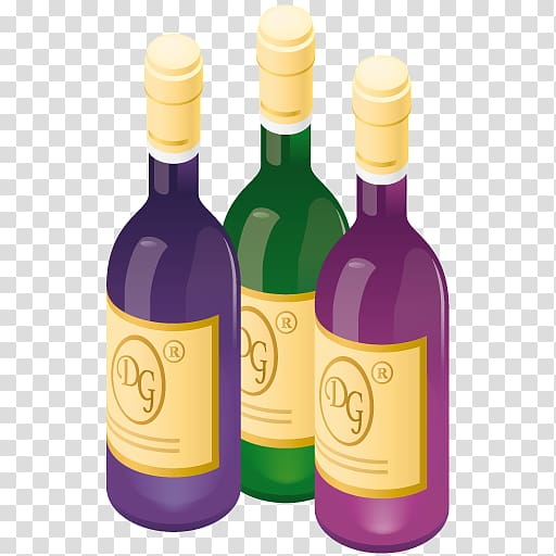 Three DG wine bottles illustration, glass bottle liqueur.