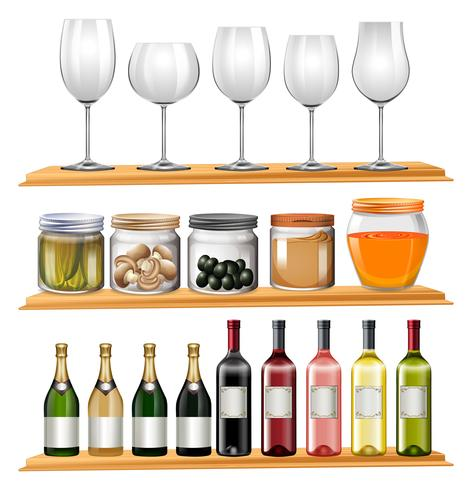 Wine glasses and food on wooden shelves.