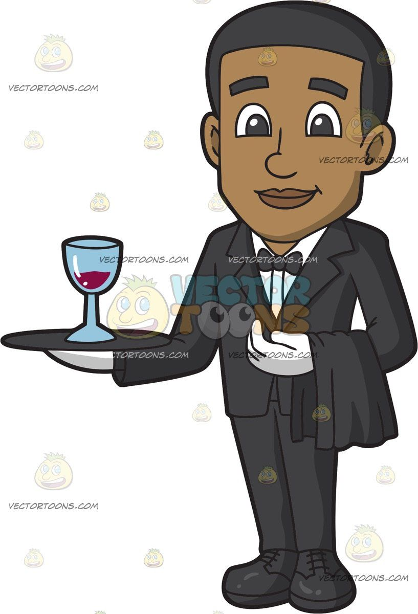 A Smiling Black Male Butler Holding A Tray With A Glass Of.