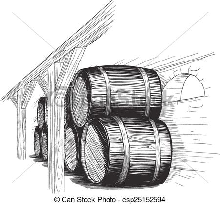 EPS Vectors of old wine cellar with rows of barrels. like woodcut.