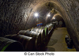 Stock Photo of wine cellar.