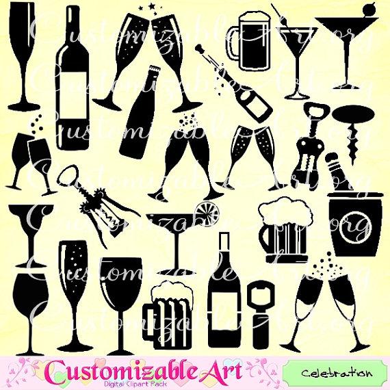 Celebration Clipart Wine Glass Champagne Bottle Clip Art.