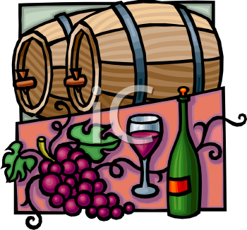 Wooden Barrels of Wine and a Bottle.