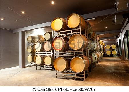 Picture of modern wine cellar with barrels csp8597767.