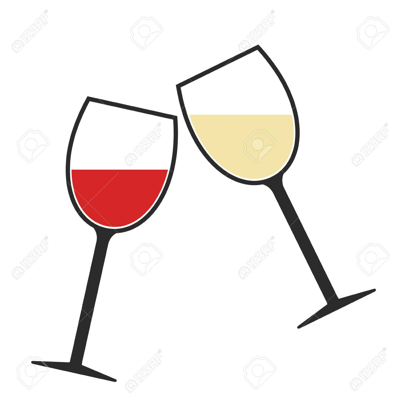 Red and White Wine Glasses Clink Icon Isolated, Cheers.