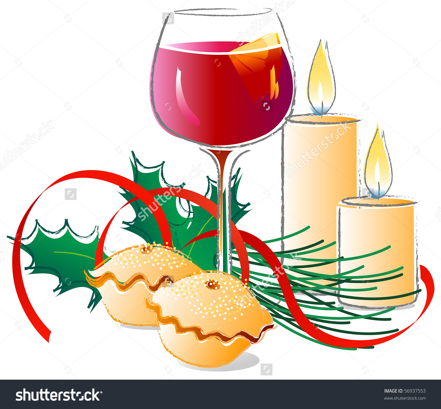 Mulled Wine And Mince Pies Clipart.