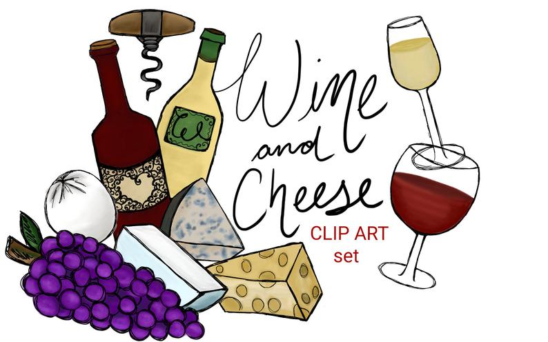 Wine and cheese clip art set, hand drawn clip art, cheese clipart, vineyard  clip art, commercial wine clip art, wine cheese party invites.