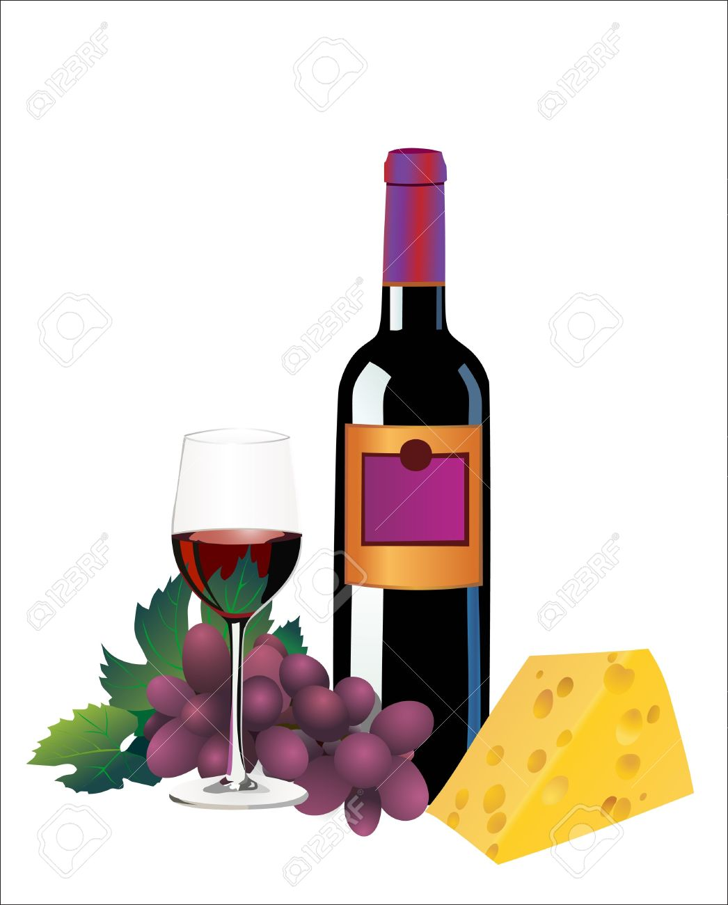Red Wine Cheese Illustration, Wine cheese flat Illustrations.