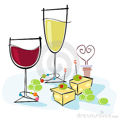 Wine And Cheese Clipart.