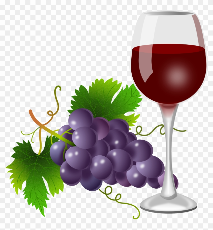 Purple Grapes And Wine Glass.