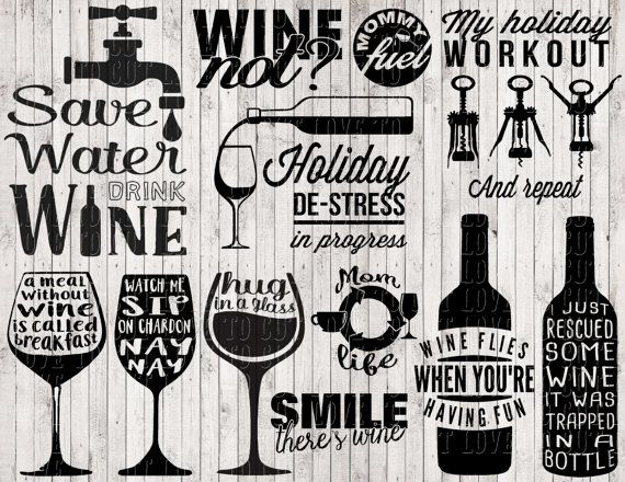 wine svg bundle, wine clipart, svg files for silhouette.