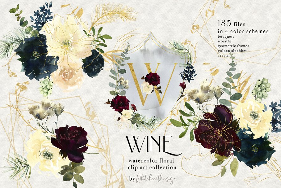 Wine Watercolor Floral Clipart Kit ~ Illustrations.