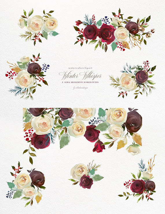 Bordo Red White Watercolor Flowers Clipart Burgundy Red.