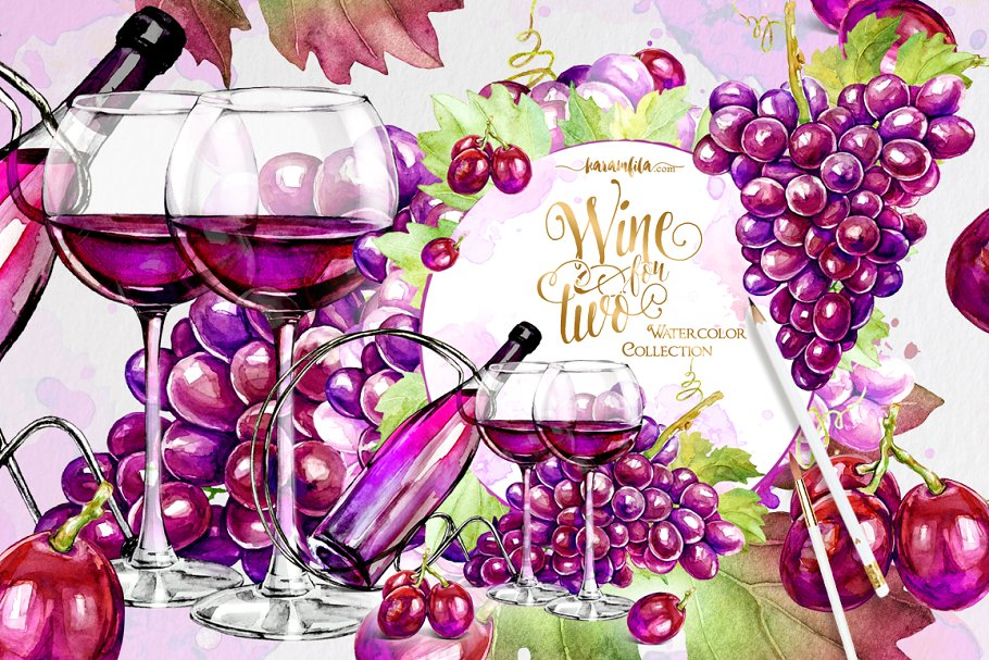 Wine and Grapes Clipart ~ Illustrations ~ Creative Market.