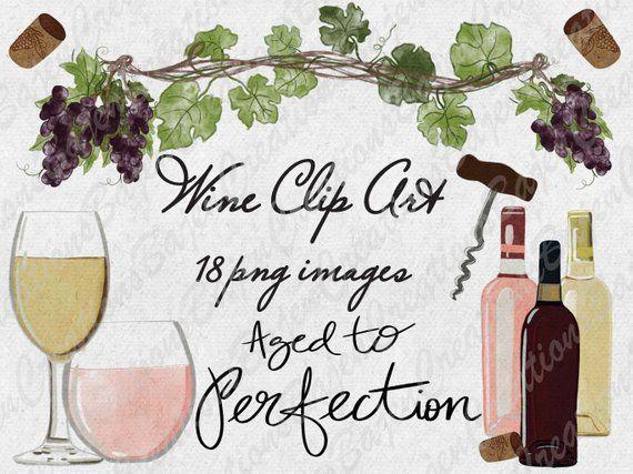 Watercolor Wine Clip Art, Glasses, Grapes, Bottles.