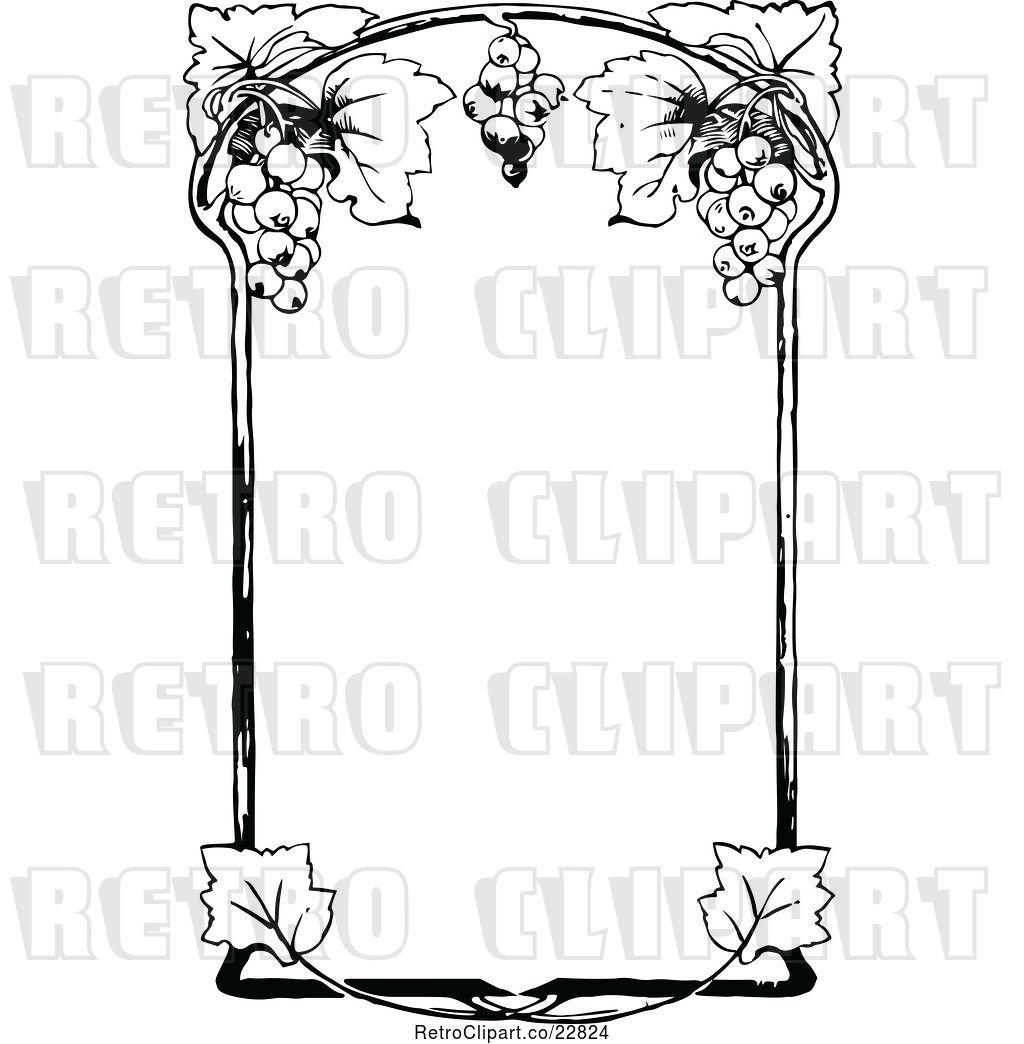 Vector Clip Art of Retro Ornate Grape Wine Frame by Prawny.
