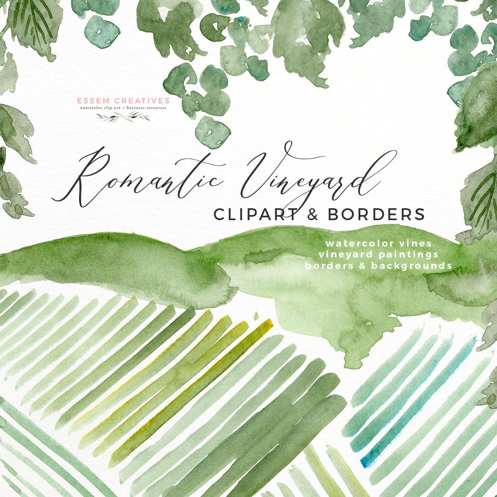 Watercolor Vineyard Landscape Wedding Invitation.