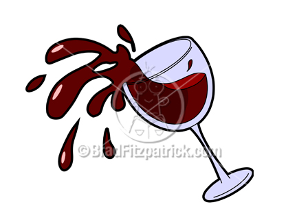 Cartoon Wine Glass Spilling Clip Art.