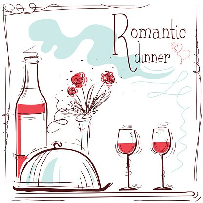 Romantic dinner card.Vector illustration with wine and food.