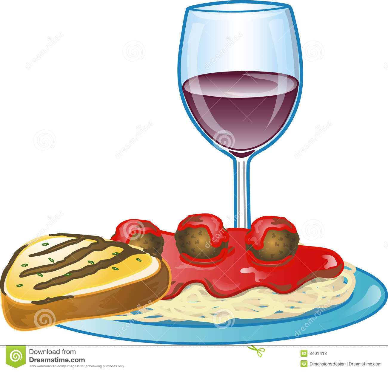 Dinner and Wine Clipart Free.