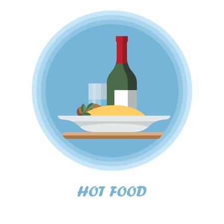 First course flat vector illustration. Hot meal with wine.