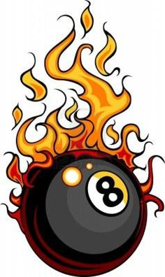 Flaming 8 ball.