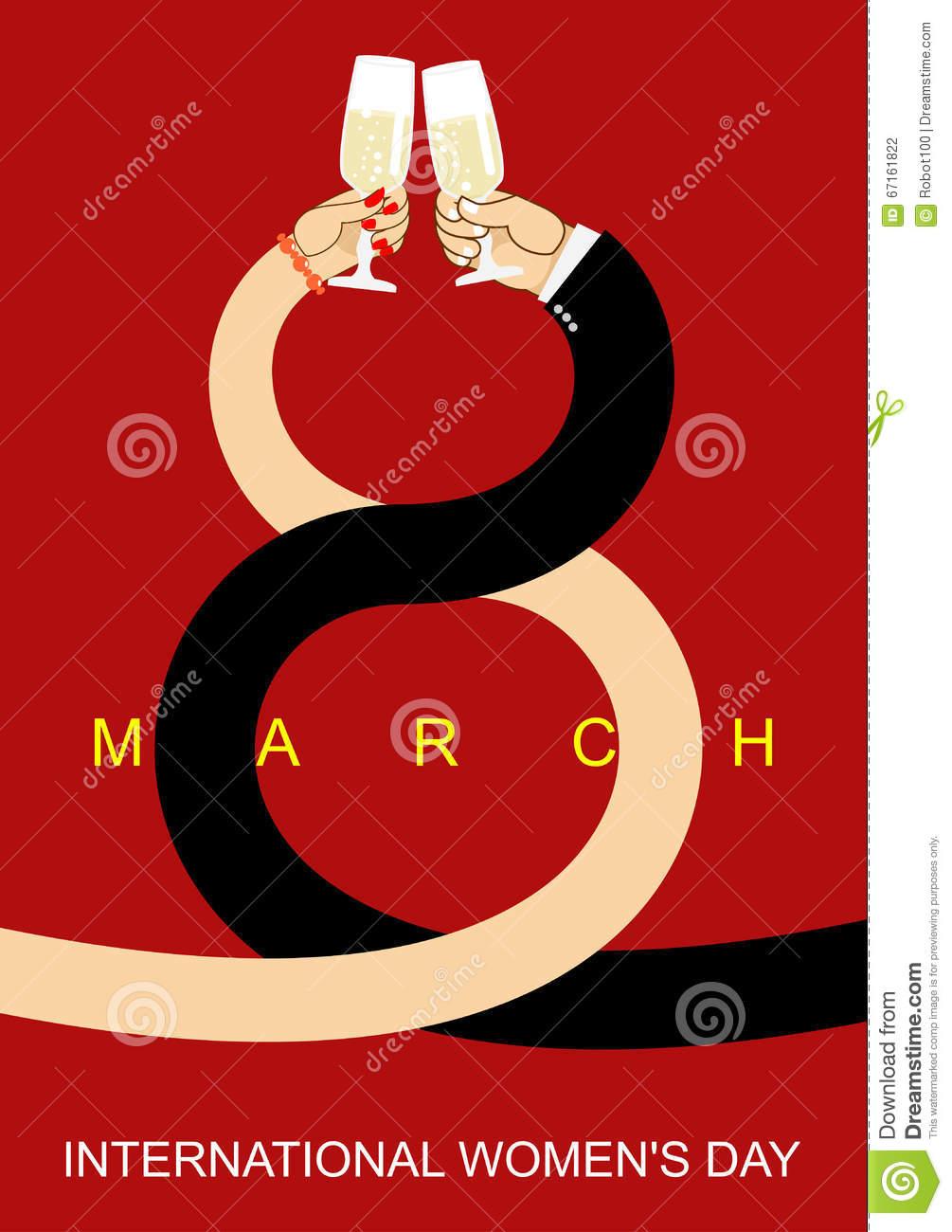 8 March. Romantic Date Men And Women. Drink Wine Brotherhood.
