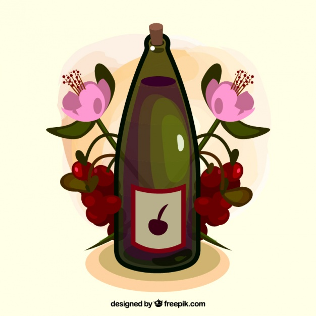 Background with a bottle of wine and flowers Vector.
