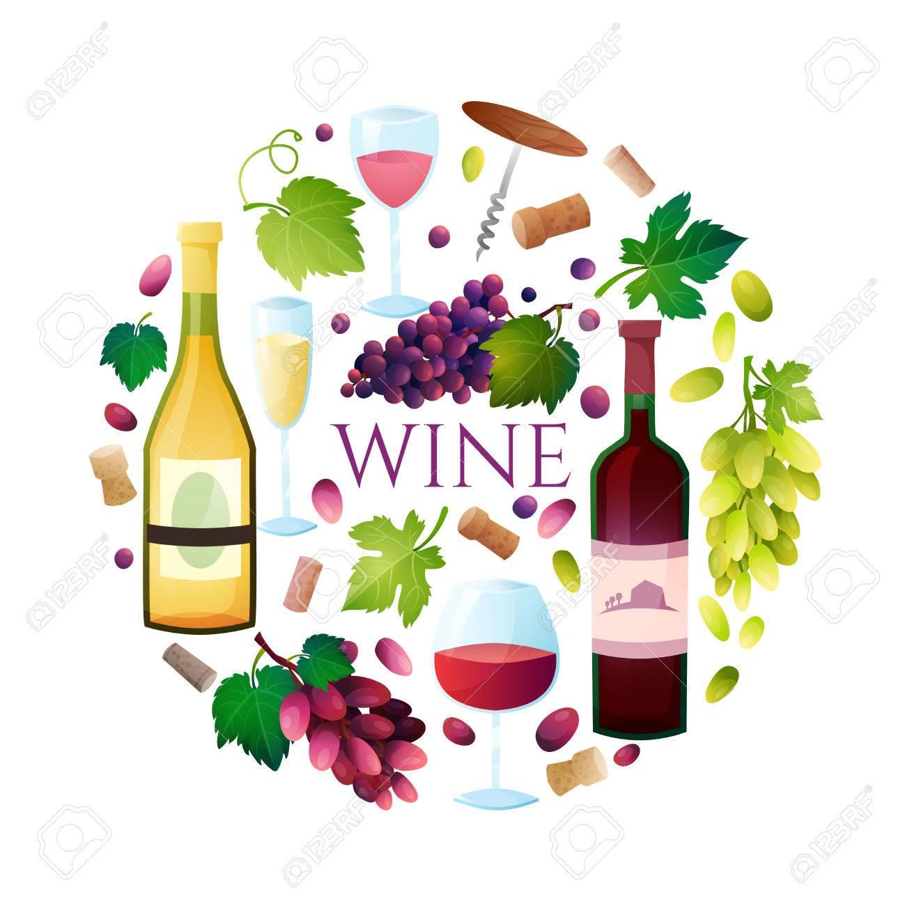 Illustration OF wine barrel, wine glass, grapes, grape twig.