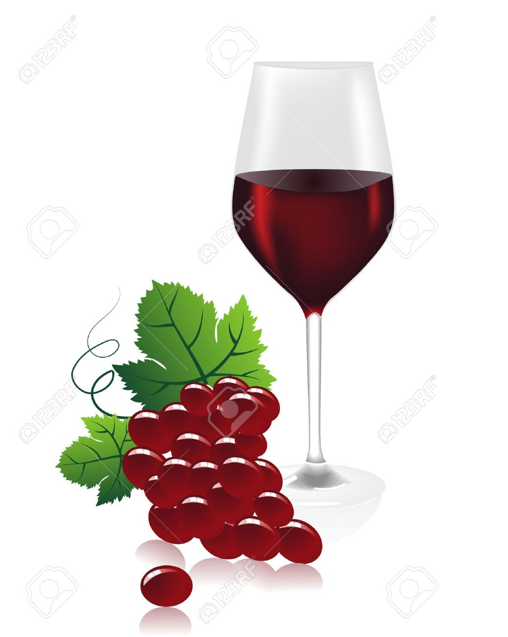 a wine glass with red wine and grapes.