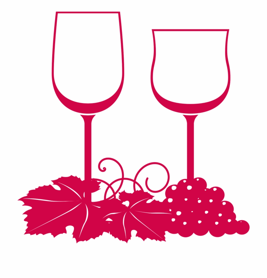 Glasses Wine Grapes Leaves Pink Png Image.