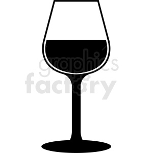 wine glass silhouette vector clipart. Royalty.