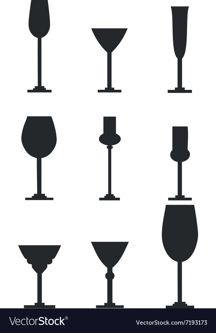 Wineglass silhouette set.